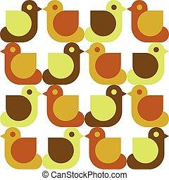 seamless, patrón, con, aves