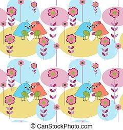 seamless, patrón, con, aves, maravilloso, familia