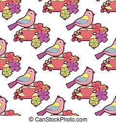 seamless, patrón, con, aves, taza