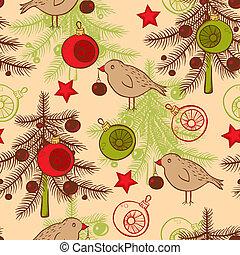 seamless, patrón, con, aves, y, árbol de navidad