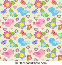 seamless, patrón, con, aves, y, flores