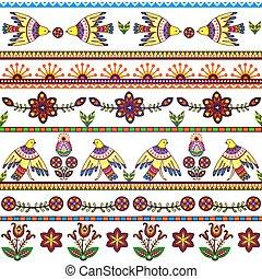 seamless, patrón, con, aves, y, flowers., floral, rayas, plano de fondo, tribal, texture., vector, eps10.