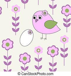 seamless, patrón, con, aves, y, huevos