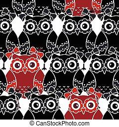 seamless, patrón, con, búhos