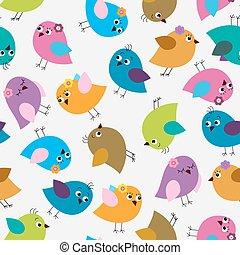seamless, patrón, con, brillante, lindo, aves