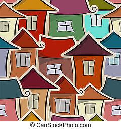 seamless, patrón, con, casas