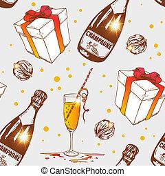 seamless, patrón, con, champaña