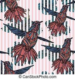 seamless, patrón, con, colibrí, hibisco