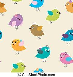 seamless, patrón, con, colorido, aves, aves
