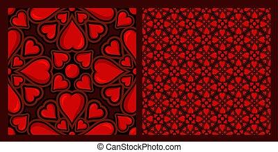 seamless, patrón, con, corazones