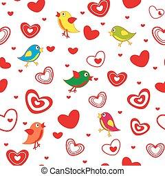 seamless, patrón, con, corazones, y, aves