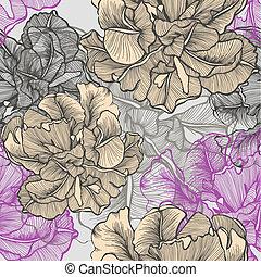 seamless, patrón, con, decorativo, florecimiento, tulips.,...