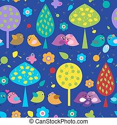 seamless, patrón, con, diferente, coloreado, lindo, aves