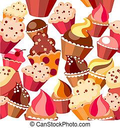 seamless, patrón, con, dulces