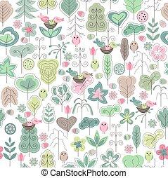seamless, patrón, con, estilizado, árboles, y, aves