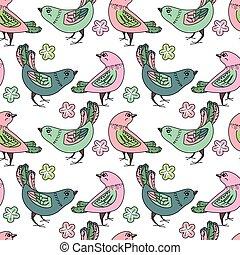 seamless, patrón, con, estilizado, aves