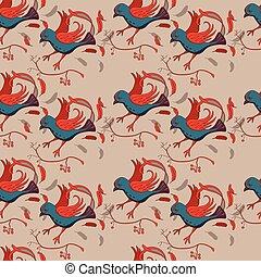 seamless, patrón, con, estilizado, pájaro
