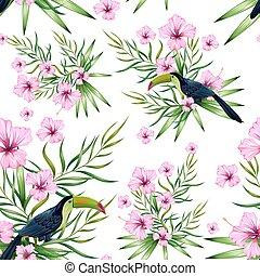 seamless, patrón, con, exótico, flor tropical, y, colorido,...