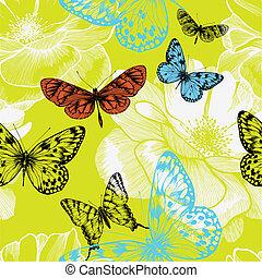 seamless, patrón, con, florecer, rosas, y, vuelo, butterflies., vector, illustration.