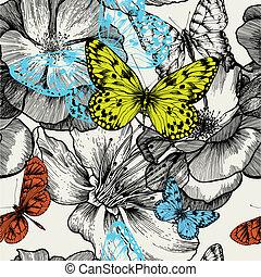 seamless, patrón, con, florecer, rosas, y, vuelo, mariposas,...