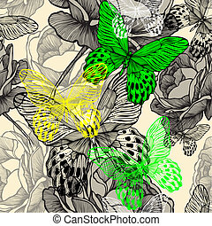 seamless, patrón, con, florecer, salvaje, rosas, y, colorido, mariposas, hand-drawing., vector, illustration.
