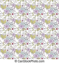 seamless, patrón, con, flores