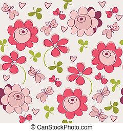 seamless, patrón, con, flores, mariposa, y, corazones