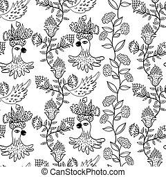 seamless, patrón, con, flores, y, aves