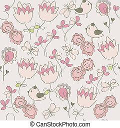 seamless, patrón, con, flores, y, birds., lindo, seamless.