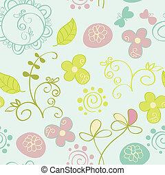 seamless, patrón, con, flores, y, butterfly., lindo, seamless.