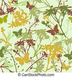 seamless, patrón, con, flores, y, hojas