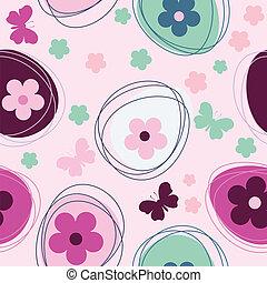 seamless, patrón, con, flores, y, huevo de pascua