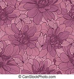 seamless, patrón, con, flores, y, mariposa, ., floral, ornament.