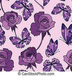 seamless, patrón, con, flores, y, mariposa, ., violeta, colors., han