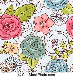seamless, patrón, con, flowers.
