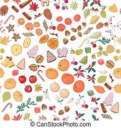 seamless, patrón, con, fruits