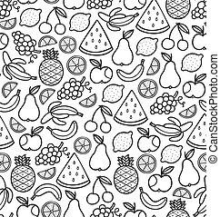 seamless, patrón, con, garabato, jugoso, fruits, en, negro