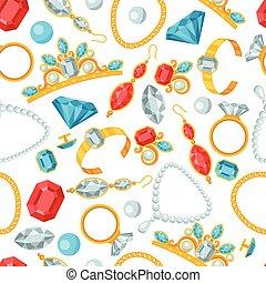 seamless, patrón, con, hermoso, jewelry.