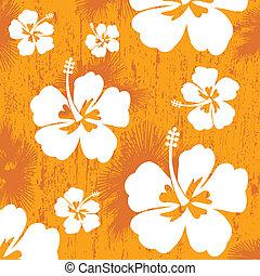 seamless, patrón, con, hibisco, flor