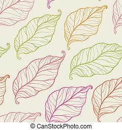 seamless, patrón, con, hojas
