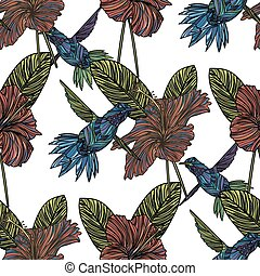 seamless, patrón, con, hummingbird.