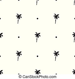 seamless, patrón, con, iconos, de, árboles de palma, aislado, blanco, plano de fondo