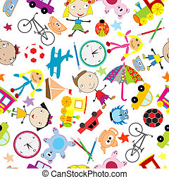 seamless, patrón, con, juguetes, plano de fondo, para, niños