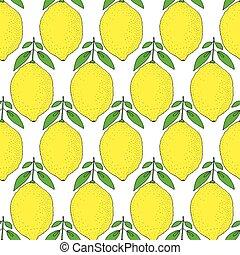 seamless, patrón, con, limones