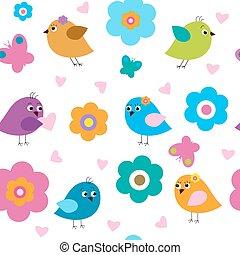 seamless, patrón, con, lindo, aves, y, flores