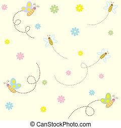 seamless, patrón, con, lindo, insectos, y, flores