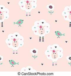 seamless, patrón, con, lindo, sheep, aves, y, flores