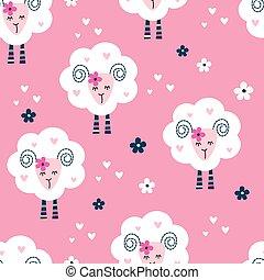 seamless, patrón, con, lindo, sheep