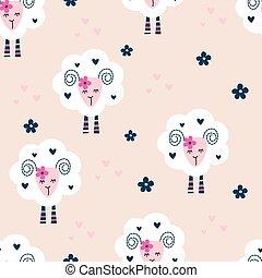 seamless, patrón, con, lindo, sheep, y, flores