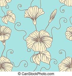 seamless, patrón, con, mano, empate, flores, floral,...